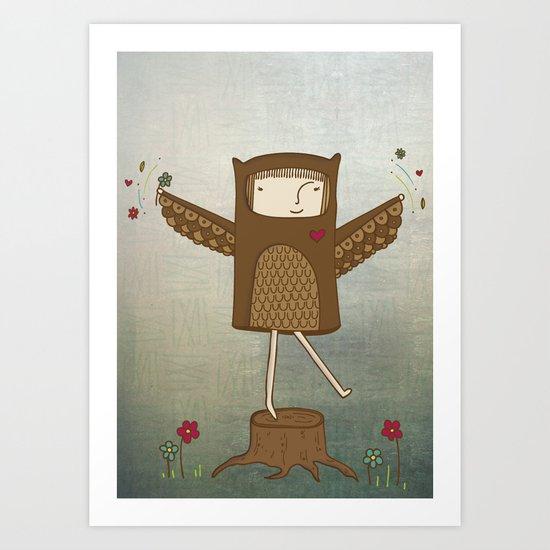 Little Owl Girl Art Print