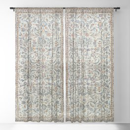 Central Persia Old Century Authentic Colorful Muted Dusty Cream Grey Vintage Rug Pattern Sheer Curtain