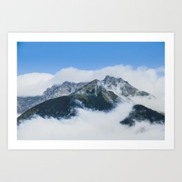 Misty mountain in a summer morning Art Print