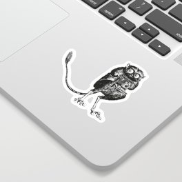 Say Cheese! | Tarsier with Vintage Camera | Black and White Sticker