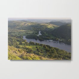 View from Gummers How over Fell foot on Lake Windermere at sunset. Lake District, Cumbria, UK. Metal Print