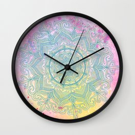 pink splash mandala Wall Clock