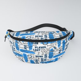 Gamer Lingo-White and Blue Fanny Pack