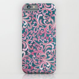 Pink on Green - Paisley iPhone Case