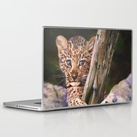 wild things Laptop & iPad Skins featuring Leopard Baby Wild Things by Moody Muse
