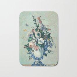 Paul Cezanne, Flowers in a Rococo Vase,1876 Bath Mat