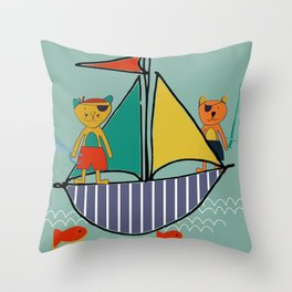 Pirate Boat teal Throw Pillow