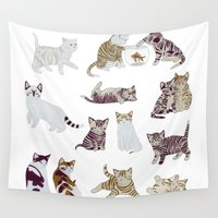 kittens Wall Tapestries featuring Little Kittens by Yuliya