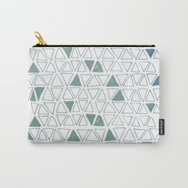 Tribal Triangles in Green Carry-All Pouch