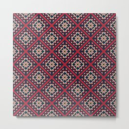 Quilted Navy Winter Metal Print