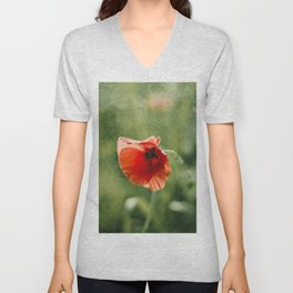 Red Poppy on Green background with bokeh Unisex V-Neck