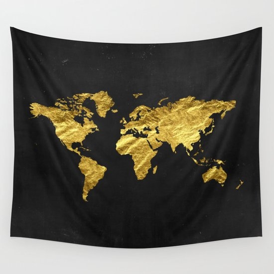 Black And Gold Wall Art black gold decor, gold world map, office decor, bathroom, glam