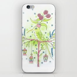 Flowerpot bird iPhone Skin