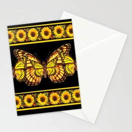 YELLOW MONARCH BUTTERFLIES & SUNFLOWERS BLACK ART Stationery Cards