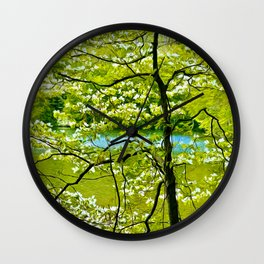Water's White Blossoms Wall Clock