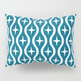 Mid century Modern Bulbous Star Pattern Peacock Blue Pillow Sham