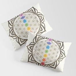 Flower of Life Chakra Healing Mandala Pillow Sham