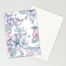 Pretty Blue Pink Succulents Garden Stationery Cards