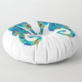 Blue Seahorse Art by Sharon Cummings Floor Pillow