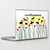 sunflowers Laptop & iPad Skins featuring Sunflowers by Jessielee