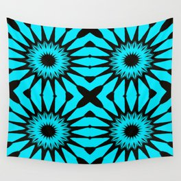 blue & Black Pinwheel Flowers Wall Tapestry