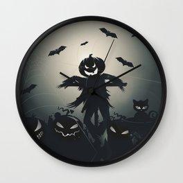 A pumpkin scarecrow in the cornfield Wall Clock