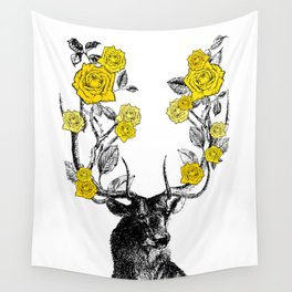 The Stag and Roses | Yellow Wall Tapestry