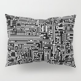 Circuit Board on Black Pillow Sham