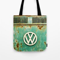 vw Tote Bags featuring VW Retro by Alice Gosling