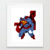 man of steel Framed Art Prints featuring Man Of Steel by alsalat