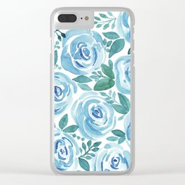 Pale blue roses . Watercolor . Clear iPhone Case