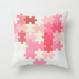 Puzzled Heart Throw Pillow