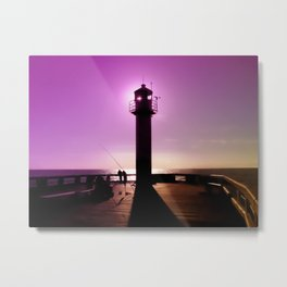 Romance At Sunset Under Sea Lighthouse Metal Print