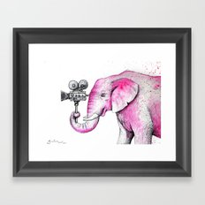 Filming Pink Elephant Framed Art Print