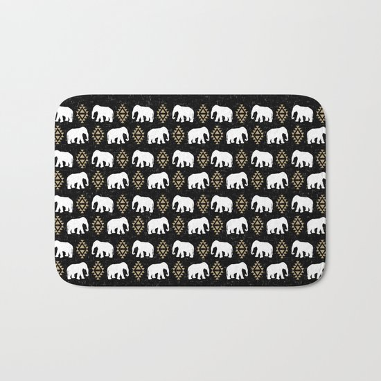 Elephant modern pattern print black gold glitter minimal with tribal influence gender neutral Bath Mat