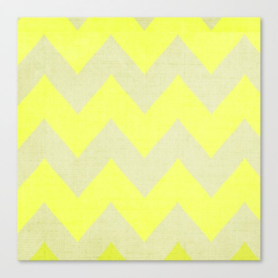 Jonquils & Daffodils - Yellow Chevron Canvas Print