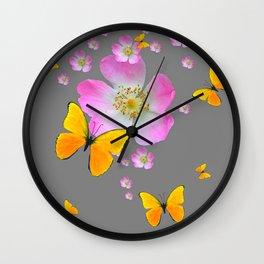 YELLOW BUTTERFLIES & PINK WILD ROSES Wall Clock