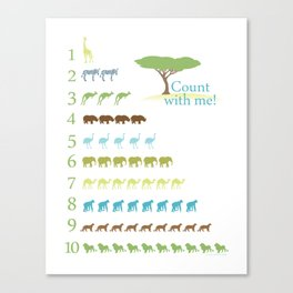 Counting Safari Animals - Grass Stains colorway Canvas Print