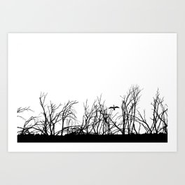 The big bird in the dry trees Art Print