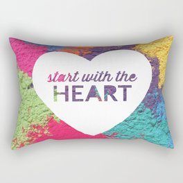 Start With The Heart Quote Print Rectangular Pillow