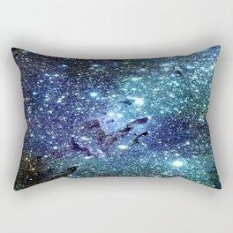 GalaxY Nebula Blue Teal Indigo Rectangular Pillow