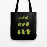 android Tote Bags featuring Android Evolution by CromMorc