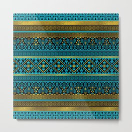 Mexican Style pattern - black, teal and gold Metal Print