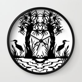 Lowcountry Herons - Papercut Silhouette Scherenschnitte Wall Clock