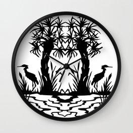 Lowcountry Herons - Papercut Silhouette Scherenschnitte Wall Clock