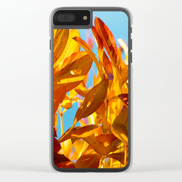 Autumn colors leaves against the blue sky #decor #society6 Clear iPhone Case