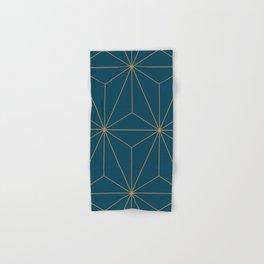 Peacock blue geometrical pyramid Hand & Bath Towel