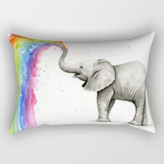 Baby Elephant Spraying Rainbow Whimsical Animals Rectangular Pillow