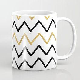 Writing Exercise- Simple Zig Zag Pattern - Black on White Gold - Mix & Match Coffee Mug