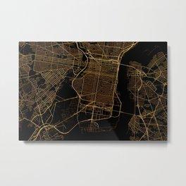 Black and gold Philadelphia map Metal Print
